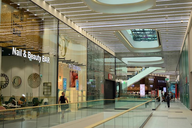 Interior of modern shopping center Galeria Mlociny. Warsaw, Poland. 18 June 2019. Interior of modern shopping center Galeria Mlociny royalty free stock photos