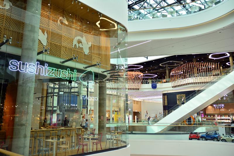 Interior of modern shopping center Galeria Mlociny. royalty free stock image