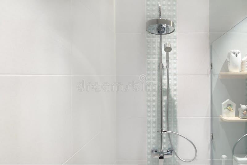 Interior of modern shower head in bathroom at home.Modern design stock image