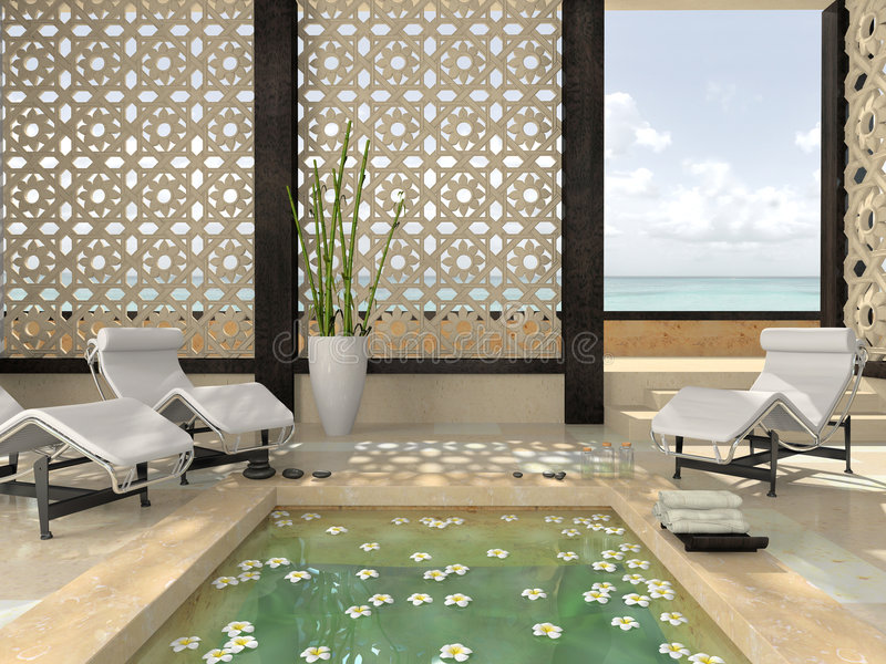 Interior of the modern spa vector illustration