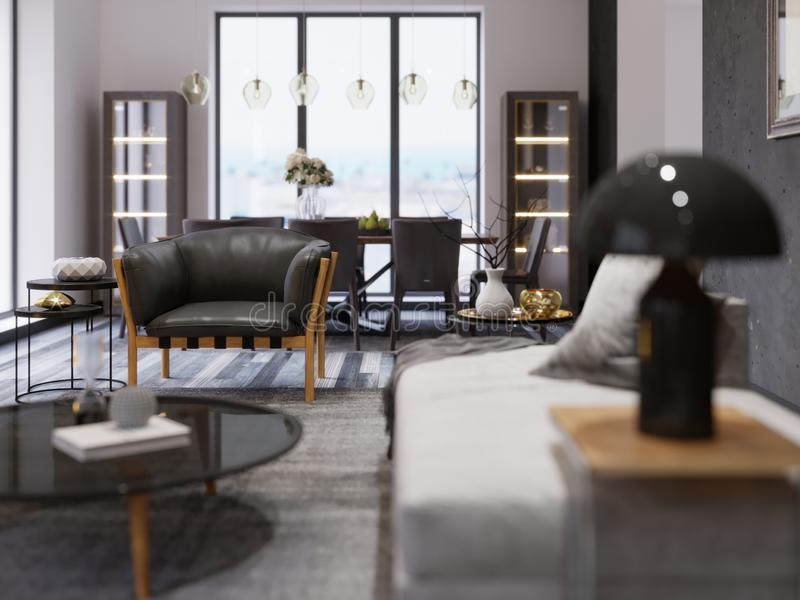 Interior of a modern studio apartment with a dining area and a dining table. Black designer armchair in loft style. depth of field. Effect. 3d rendering royalty free illustration