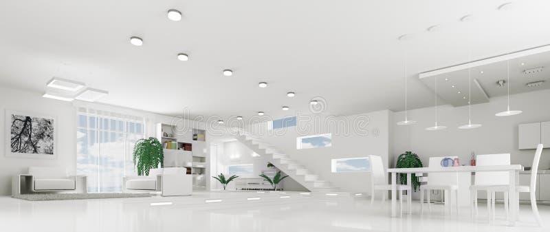 Interior of modern white apartment panorama vector illustration