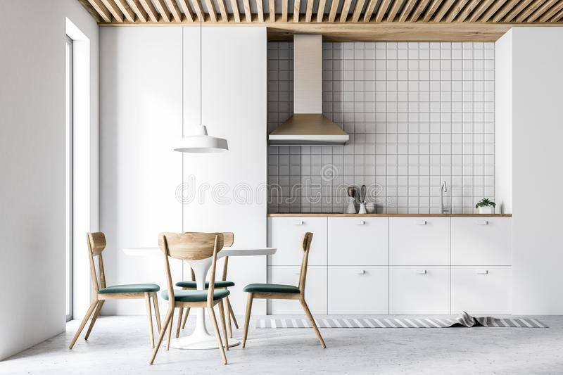 Interior Of Modern White Kitchen Chairs And Table Stock