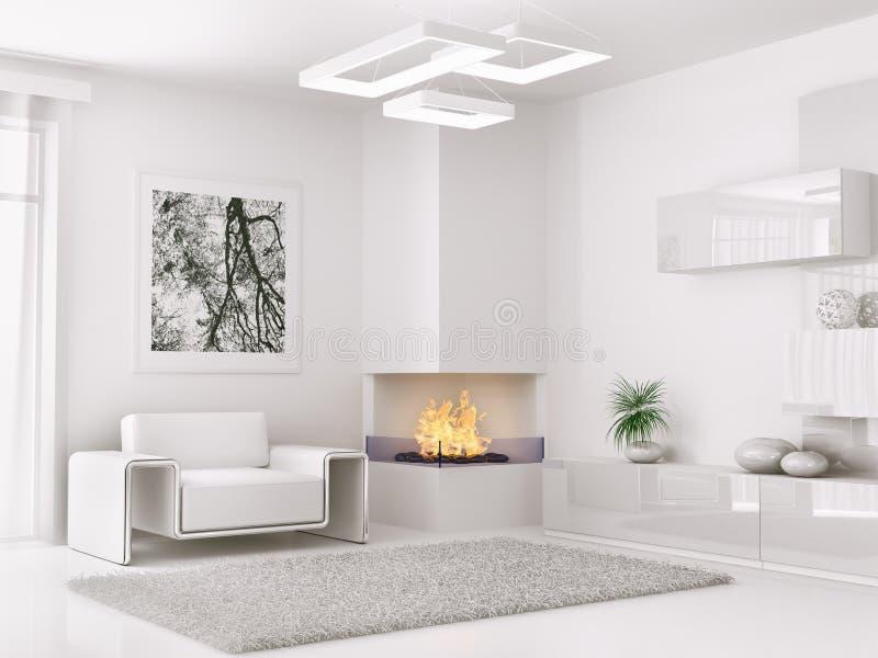 Interior Of Modern White Room 3d Render Stock Photo