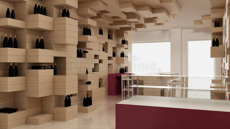 Interior of modern wine shop, design template, commercial space, wooden exposition, minimalist architecture with marble floor and. Purple colored details royalty free stock image