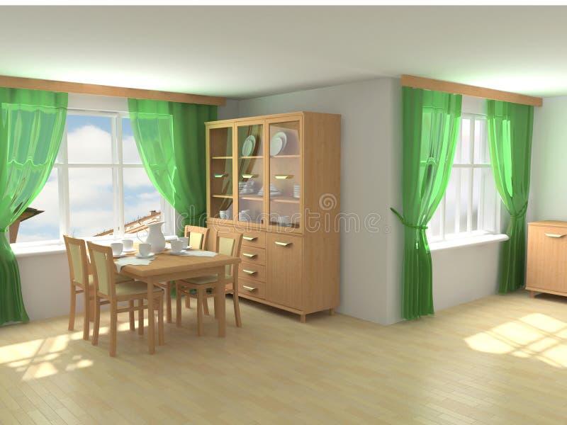 Interior moderno 3d ilustração royalty free