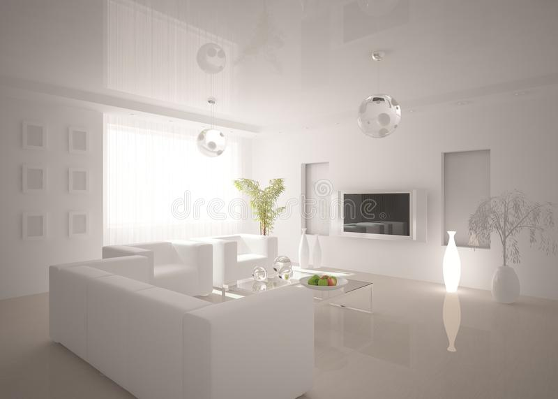 Interior moderno branco ilustração royalty free