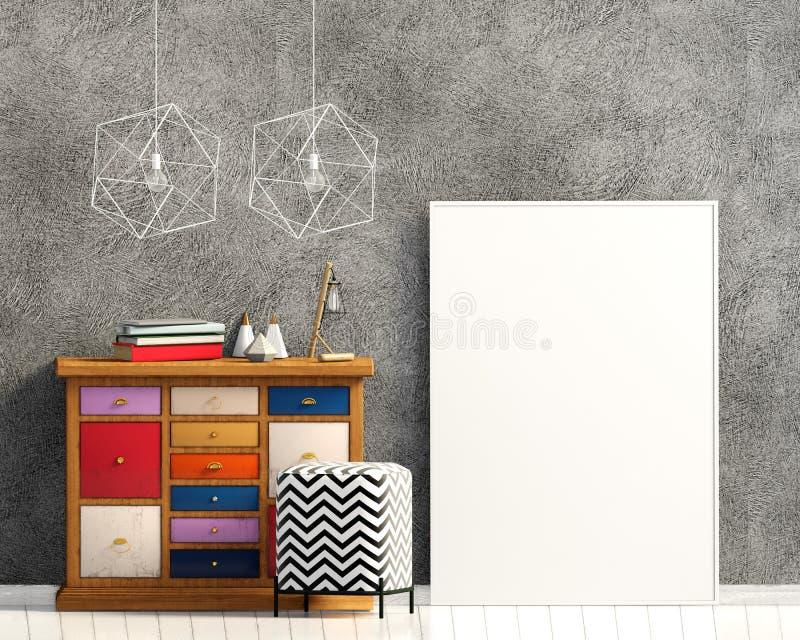 Interior moderno com armário ilustração 3D ilustração do vetor