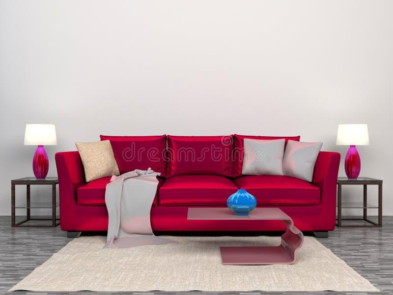 Interior moderno com cama cor-de-rosa ilustração 3D ilustração stock