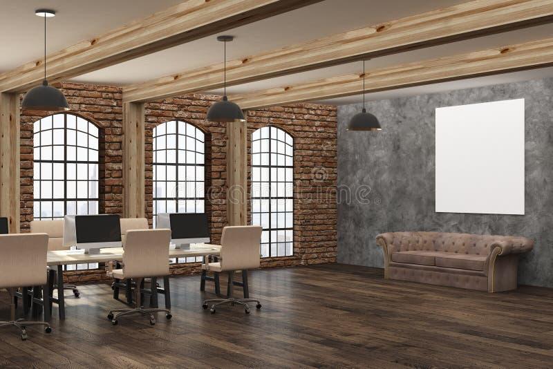 Interior moderno com cartaz vazio fotos de stock