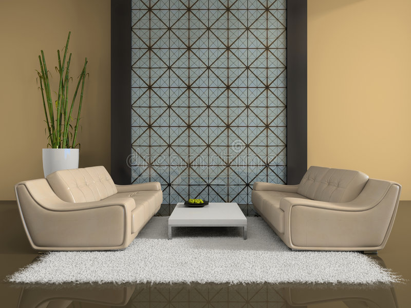 Interior moderno com dois sofás ilustração do vetor