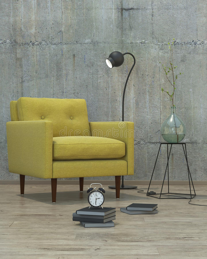Interior moderno com fundo amarelo do sofá, 3D fotografia de stock royalty free