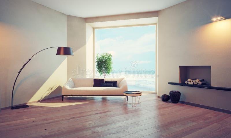 Interior moderno com janela ilustração royalty free
