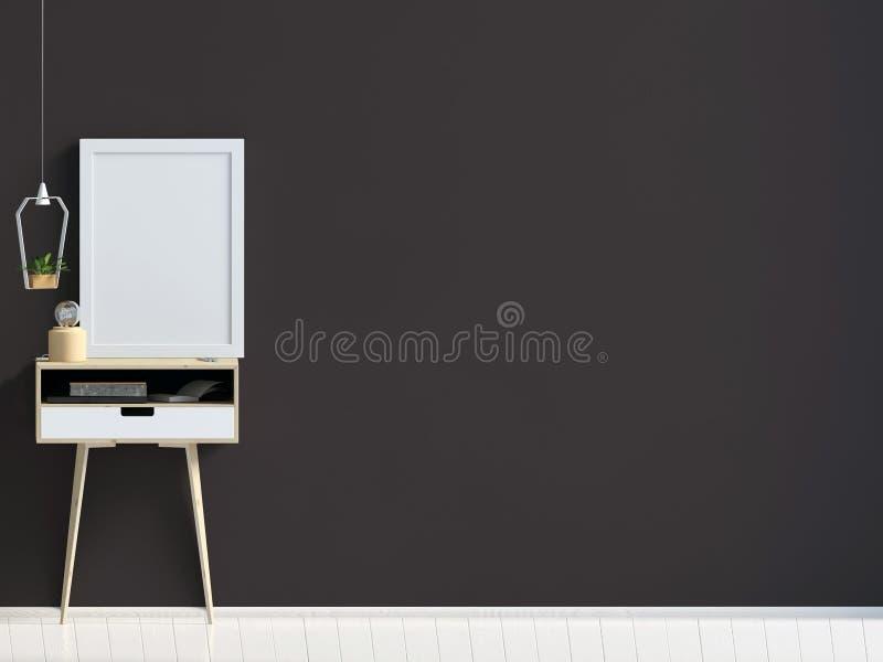 Interior moderno com mesa de centro zombaria da parede acima ilustração stock