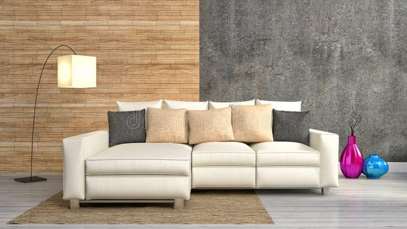 Interior moderno com mobília ilustração 3D ilustração stock