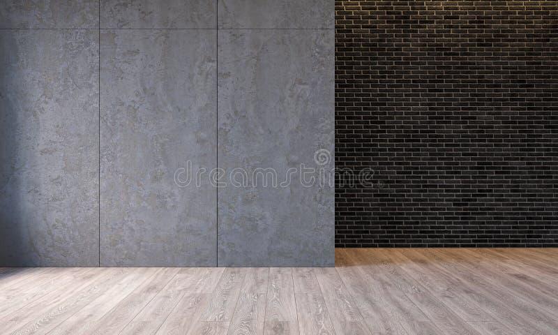 Interior moderno com os painéis de parede concretos do cimento da arquitetura, parede do sótão de tijolo, assoalho concreto Sala  ilustração do vetor