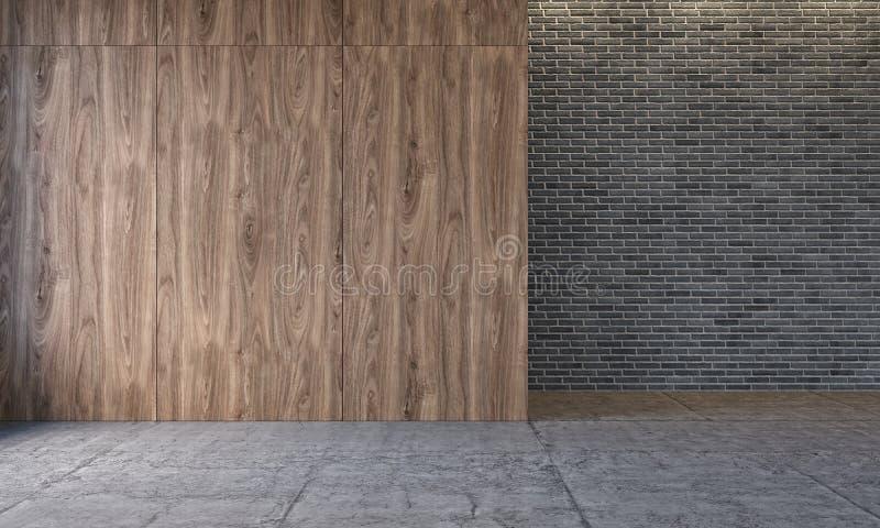 Interior moderno com os painéis de parede de madeira, parede do sótão de tijolo, assoalho concreto Sala vazia, parede vazia ilustração do vetor