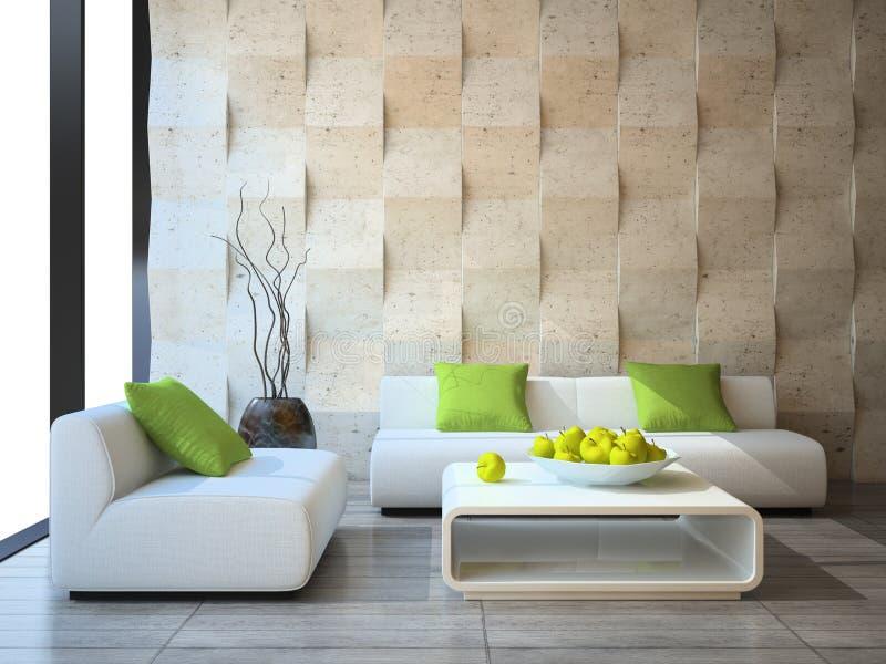 Interior com painéis de muro de cimento ilustração royalty free