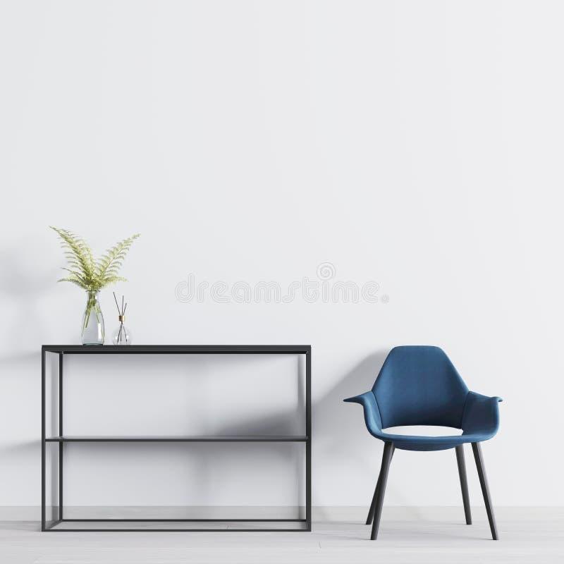 Interior moderno com a parede vazia para o modelo com as prateleiras com decoração e cadeira na sala ilustração stock