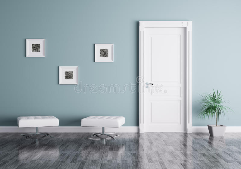 Interior moderno com porta e assentos ilustração stock