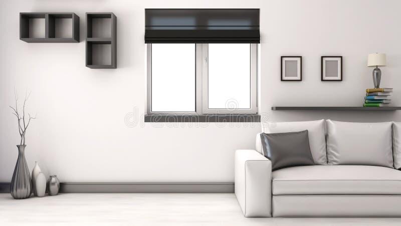 Interior moderno com sofá ilustração stock