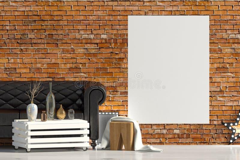 Interior moderno com sofá Zombaria do cartaz acima ilustração royalty free