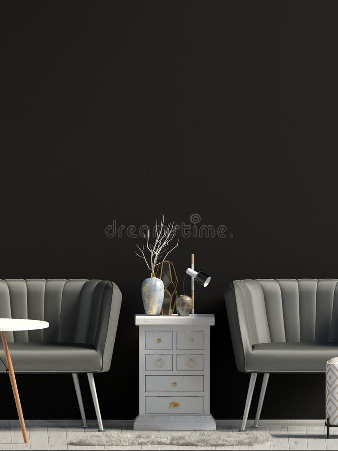 Interior moderno com sof? ilustra??o 3D ilustração stock