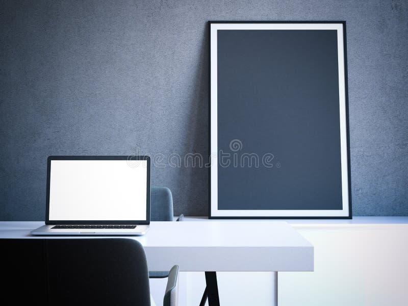 Interior moderno com tabela e portátil rendição 3d ilustração do vetor