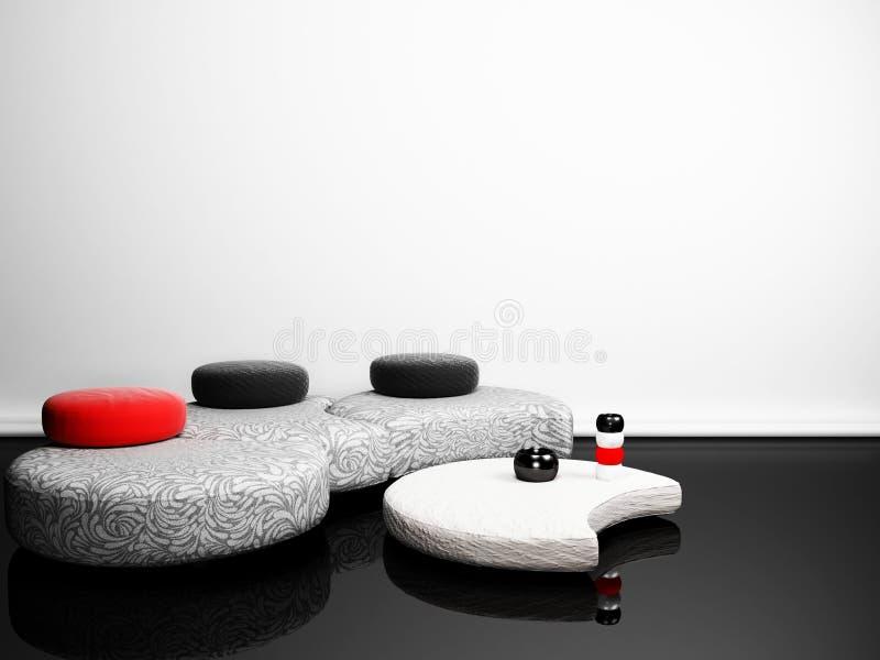 Interior moderno com um pufe creativo e uma tabela ilustração stock