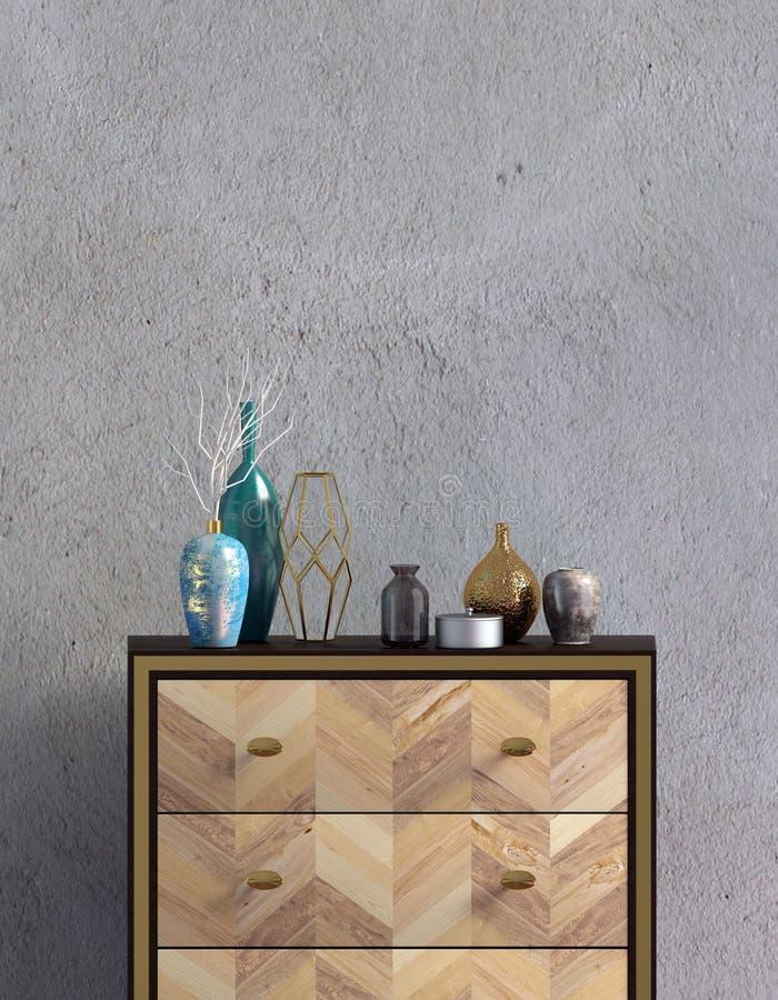 Interior moderno con el aparador mofa de la pared para arriba libre illustration