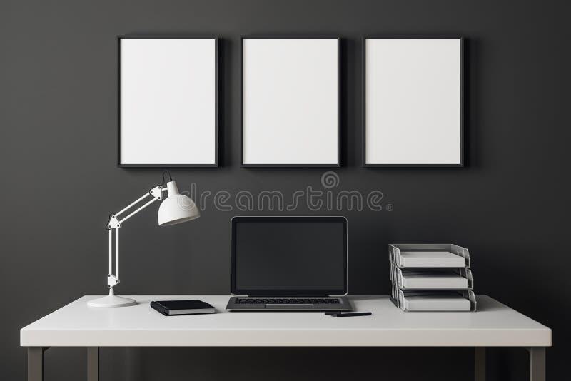 Interior moderno con el ordenador portátil y la cartelera libre illustration