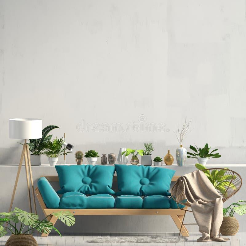 Interior moderno con el sofá mofa de la pared para arriba ilustración del vector