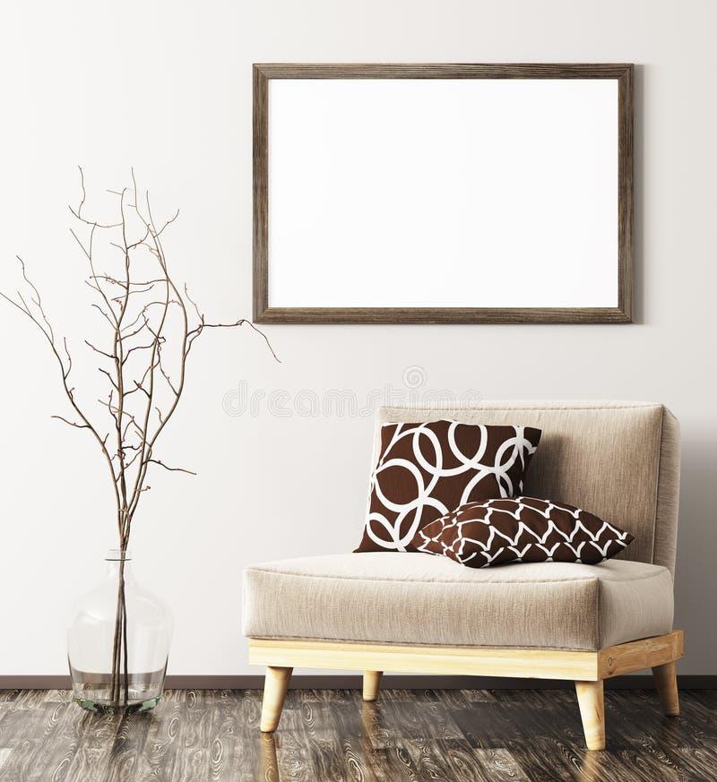 Interior moderno con la butaca, el florero y la mofa encima del renderin del marco 3d ilustración del vector