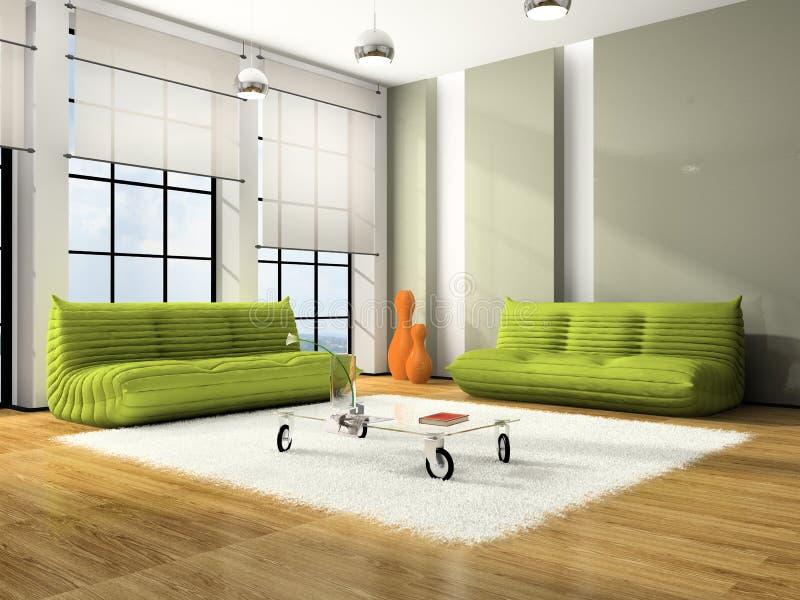 Interior moderno con los sofás verdes ilustración del vector
