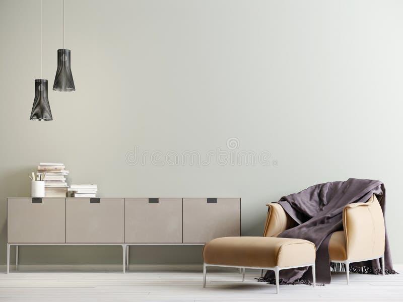 Interior moderno con un pecho de cajones y una silla en un estilo moderno con la pared vacía stock de ilustración