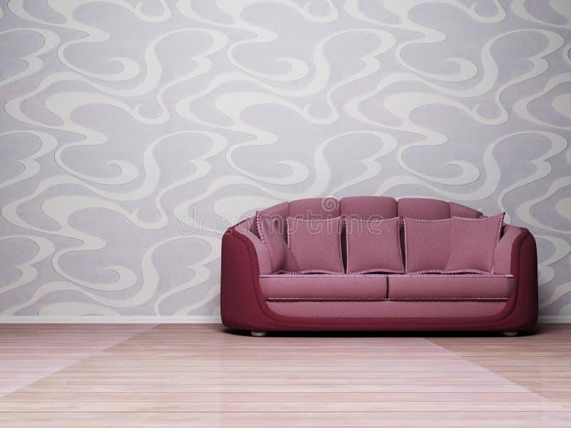 Interior moderno con un sofá violeta ilustración del vector