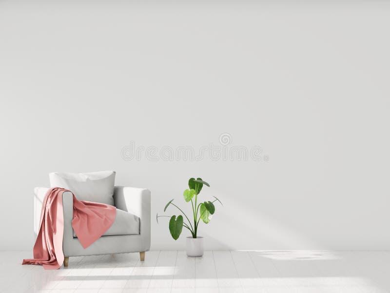 Interior moderno con una butaca, maqueta de Minimalistic para su diseño Usted puede utilizar esta maqueta para exhibir sus ilustr ilustración del vector