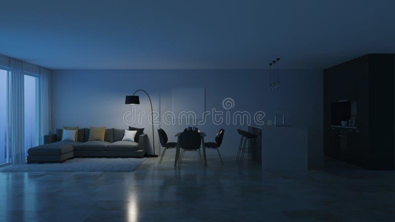 Interior moderno da casa Cozinha preta noite Iluminação da noite
