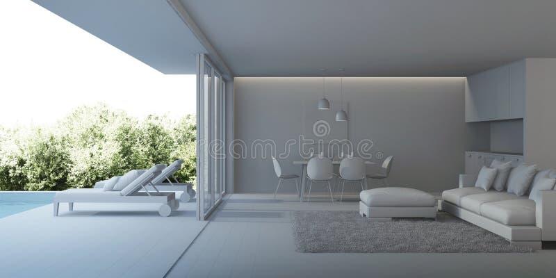Interior moderno da casa Interior de uma casa de campo com uma piscina fotos de stock