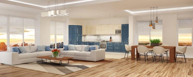 Interior moderno da casa na rendição escandinava do estilo 3d fotografia de stock royalty free