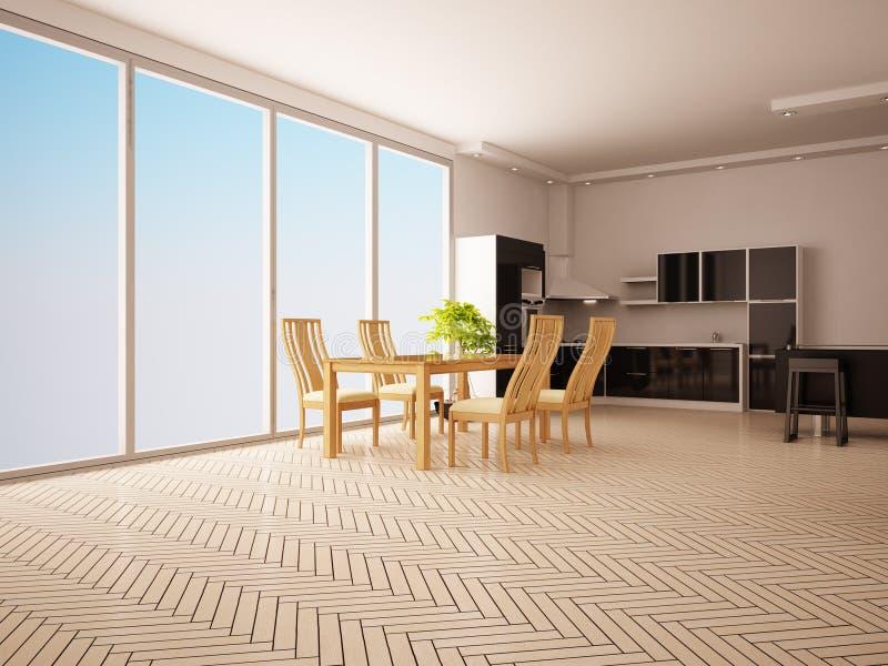 Interior moderno da cozinha. ilustração royalty free