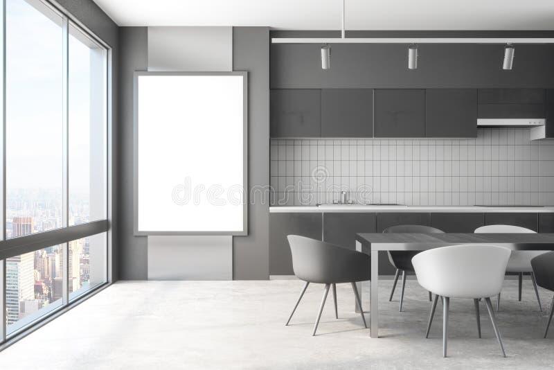 Interior moderno da cozinha com bandeira ilustração do vetor