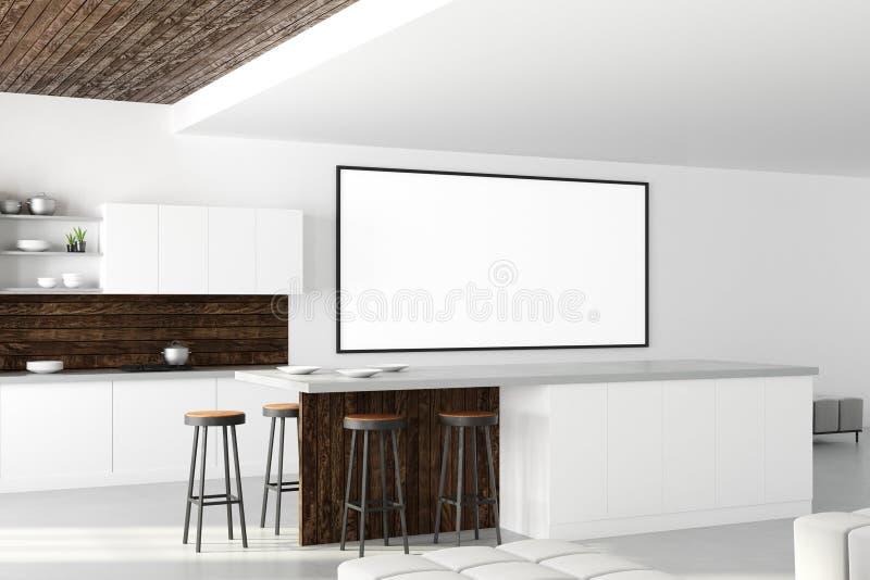 Interior moderno da cozinha com bandeira vazia ilustração do vetor