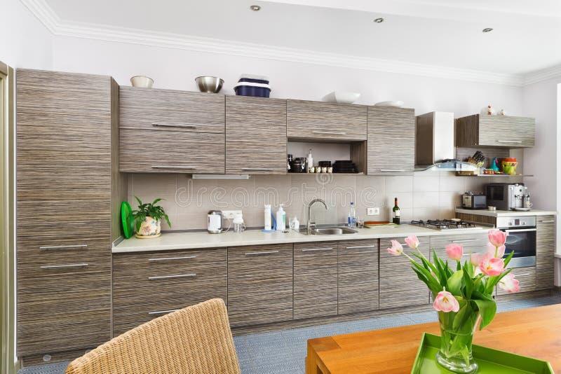 Interior moderno da cozinha do estilo do minimalism foto de stock