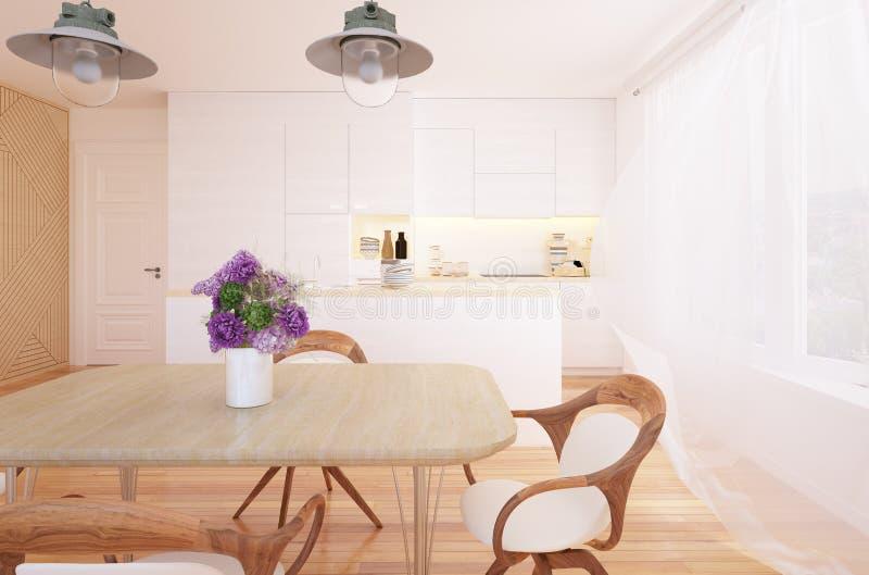 Interior moderno da cozinha e da sala de jantar ilustração do vetor