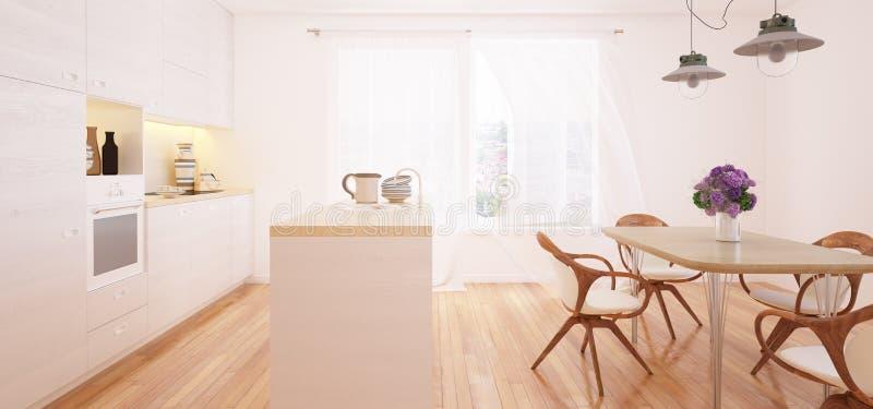 Interior moderno da cozinha e da sala de jantar ilustração stock