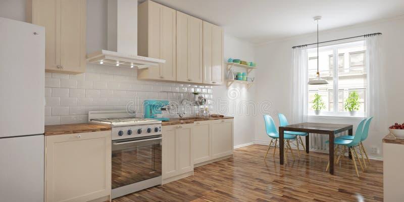 Interior moderno da cozinha na rendição escandinava do estilo 3d ilustração do vetor