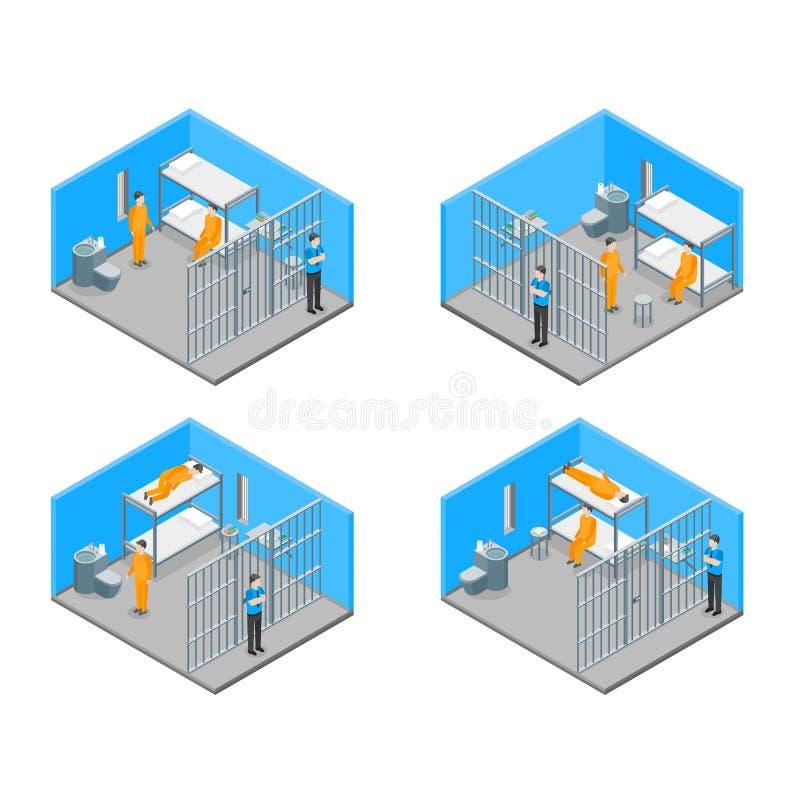 Interior moderno da prisão com opinião isométrica da mobília e dos povos Vetor ilustração do vetor
