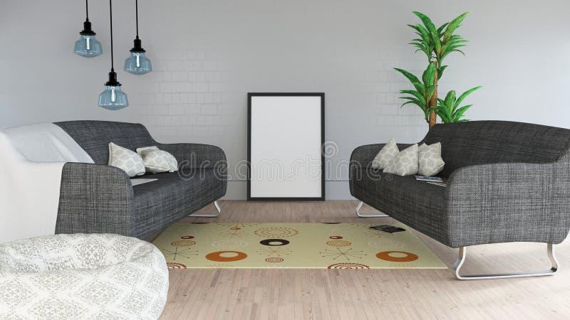 interior moderno da sala de estar 3D com moldura para retrato vazia ilustração royalty free