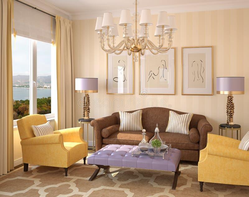 Interior moderno da sala de visitas. ilustração royalty free